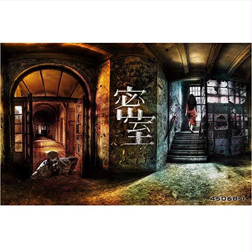 Weaeo 3D Fototapete 3D Zombie Horror Tapete Thema Hausbar Lounge Hintergrund Tapete Schatten Dame Privaten Theater Wandbild-120X100Cm