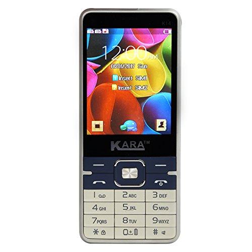 """Kara K-14 Dual Sim, 2.4"""" Big 2500 MAH Battery Mobile Phone (Gold + Dark Blue)"""