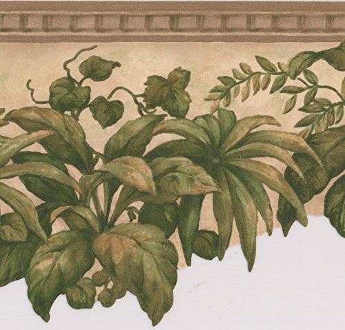 Grün Pflanzen unter Deckenleuchte beige floral Tapete Bordüre Retro Design, Rolle 15'x 12,7cm -