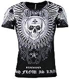 Black Rock T-Shirt - Totenkopf - Skull - Cash Flow - mit Strass Steinen (L, Schwarz)
