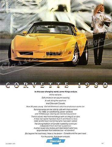 Classic und Muscle Car-Anzeigen und Auto Art 1980Chevrolet Corvette Stingray AD digitalisierte, & Remastert Auto Plakat Poster Print