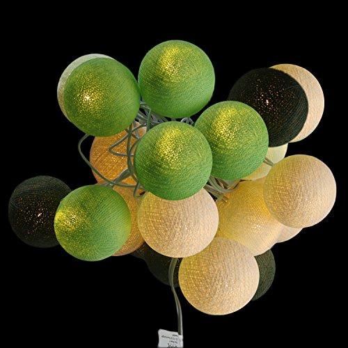 Stimmungs Lichterkette Baumwollkugeln zum dekorieren für Innenräume mit 20 Bällen in weiß - beige -grün -dunkelgrün