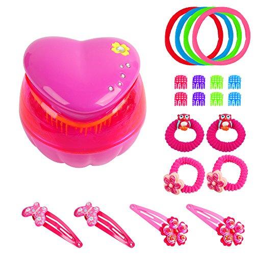Super-Kinder-Set Entwirrbürste Zauberherz Kinder-Haarbürste mit vielen Haar-Klammer, Spangen, Schlafclips und Zopfhaltern Von PARSA