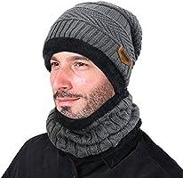VBIGER 2Pcs Chapeau Chaud Tricot Tour de Cou avec Doublure Polaire pour Homme
