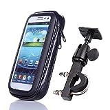 iBroz - Support Moto universel, Scooter etc... ou Vélo Fixation Puissante sur Guidon avec Tige Rigide (rotation 360°) et Housse étanche pour pour iPhone 6 PLUS, ASUS Zenfone 2, Zenfone 3, SAMSUNG GALAXY S6,S7, NOTE 3,4,5, Sony XPeria Z1 .. (largeur Max : 7,8 cm - Haut: 15,8 cm)