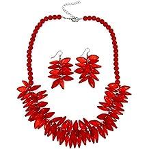 e7288cc63713 Moda Joyería Chicas Largo Acrílico Resina rojo Rosario Fiesta Collar Mujer  Collar y Aretes Conjunto
