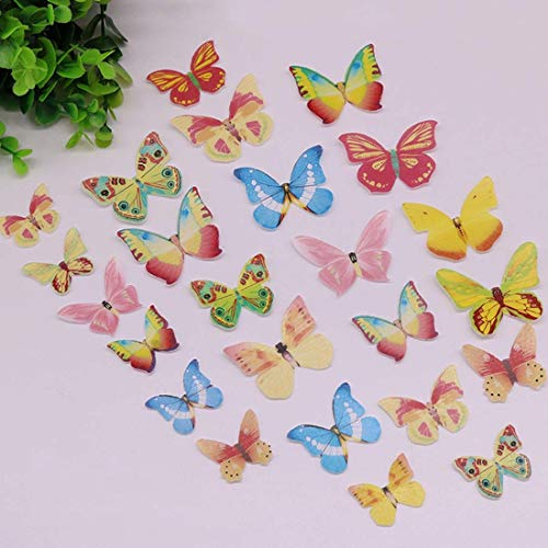 Lot Mixed Butterfly Edible Glutinous Wafer Rice Paper Cupcake Pers Birthday Wedding - Topper Cake Butterfly Edible Cake Other Sugar Balloon Cake Glitter Princess Edib ()
