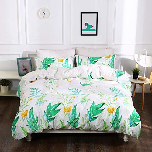 RheaChoice Mikrofaser Bettbezug, Bedruckt Set Full/Queen Nature Plant - Bettbezug Natur Queen