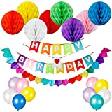 HusDow Happy Birthday Decorations Supplies, Happy Birthday Banner and 8pcs Colorful Paper Honeycomb Balls, 30pcs Party Balloons, 1pc Rainbow Paper Garland