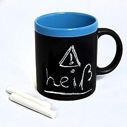 Negro pizarra de cerámica Taza de taza para pintar y escribir con tiza–Pizarra con tiza–Borde Azul