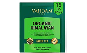 VAHDAM, Organic Green Tea Leaves from Himalayas (15 Tea Bags), 100% Natural Weight Loss Tea, Detox Tea, Slimming Tea, ANTI-OXIDANTS RICH - Green Tea Loose Leaf - Brew Hot or Iced