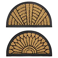 JVL Comfort Half Moon Coir Rubber Scraper Door Mat, Fabric, Brown, 40 x 70 cm