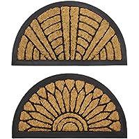 JVL Comfort Half Moon Coir Rubber Scraper Door Mat, Fabric, Brown, 40 x 70 cm