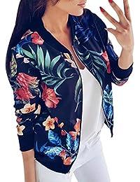 c0e88ebf8868 Femme Veste Motard Blouson Court Zippe a Motifs des Fleurs Bombers Jacket  Printemps Autonme Femmes Fahion