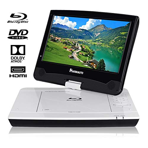 "10,1"" Blu-ray Tragbarer DVD Player für Auto Full HD 1080P Video mit 5 Stunden Akku 1024x600 Drehbarem Display Unterstützt HDMI SD-Karte USB AV Out/IN -NAVISKAUTO"