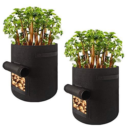 awnic vasi di feltro per patata piante sacchi per piante soluzione alternativa vasi di plastica [2 pezzi] respirabile durevole 37l Ø35x45cm ...