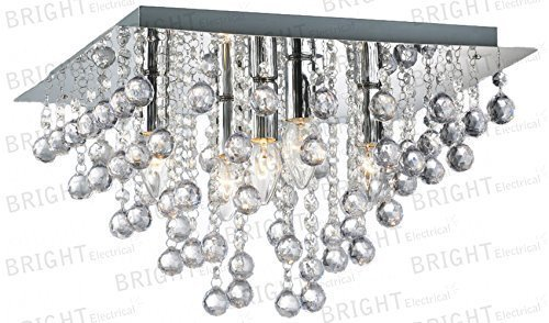led-square-chandelier-5-light-chrome-ceiling-flush-fitting-acrylic-crystal-droplets
