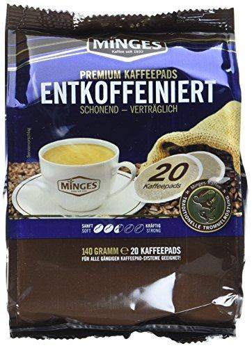 Minges Röstkaffee Entcoffeiniert, 20 Kaffeepads, Aroma-Softpack, 140 g, 12er Pack (12x 140 g)