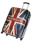 FABRIZIO Hartschalenkoffer Koffer 50 60 70 cm + Koffergurt + Flüßigkeitenbeutel (70 cm, Australia)