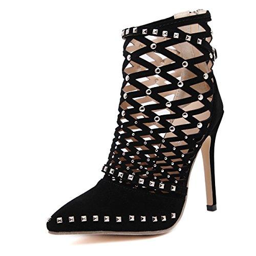LvYuan-mxx Damen High Heels Schuhe / Frühjahr Sommer / Hohl Nieten Spitz Zehen / coole Stiefel / Office & Karriere Bankett Kleid / Stiletto Ferse / Sandalen BLACK-39
