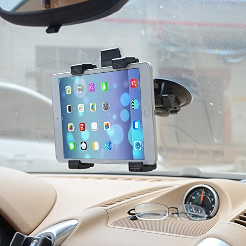 CEUTA, Car Tablet Mount Full Rotating Strong Suction Cup For Windshield / Dashboard Adjustable for 7 to 10-inch ( Black )