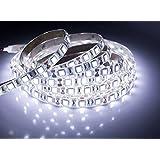 Quntis® Wasserdichte LED Band 5M Kaltweiß 5050 SMD hohe Dichte 300 LED Streifen Lichterkette Leiste+Netzteil (12V 6A) mit EU Stecker,IP 65