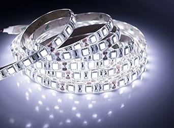 quntis wasserdichte led band 5m kaltwei 5050 smd hohe dichte 300 led streifen lichterkette. Black Bedroom Furniture Sets. Home Design Ideas
