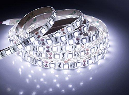 Quntis®Tira Luz Exterior&Interior Blanco Frío 5m SMD 5050 Impermeable de Alta Densidad en Kit Completo 300 LEDs Cortable Fuente de Alimentación (12V 6A) IP65 Enchufe de UE para Balcón/Terraza/Escala