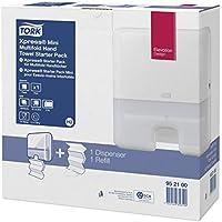 Tork 952100 - Pack con dispensador de toallas interdobladas y recambio de toallas de mano, color blanco
