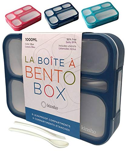 KINSHO Bento-Box Lunch Containers for Kids, Women | 6 Compartment Leakproof School Bentobox | Portion Container Boxes with Utensils | BPA-Free | 1 Navy Blue Set (Bento-box-container Kids)