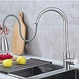 Capalta Blume, rubinetto da cucina girevole a 360°, a leva singola, con doppia doccetta estraibile, in acciaio inox