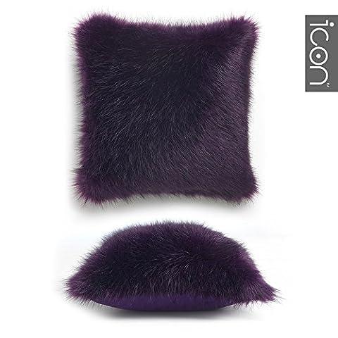 Coussin en Fourrure long ICON Soho - Coussins de luxe en faux fourrure (Violet)