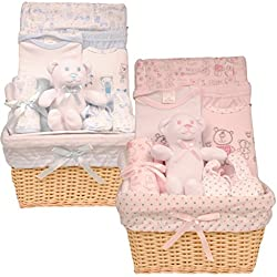 Cesta de bebé Set de regalo 0–3meses–Juguete, Wrap, body, pantalones, babero, patucos, lavado y paño para lactancia azul azul