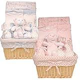 Bee Bo - Cesta de bebé para regalo con juguete body, pantalones, babero, patucos y paño para lactancia(0–3meses) azul azul 1 mes