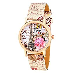 Girls Watch in with Pink Butterfly Leather Printed Belt anj9