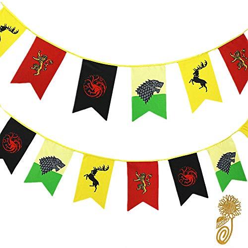 TianLinToy for Game Party Throne Gifts Stil Banner Haus Sigil Wand Flaggen (3m), Hängefahnen für Bar Club Wohnzimmer Dekoration -