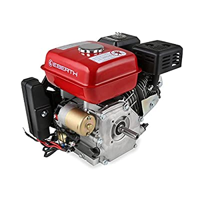 EBERTH 6,5 PS Benzin Antriebsmotor E Start (20 mm Welle, 1 Zylinder, 4 Takt Motor, Seilzugstart) rot