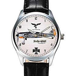 FOCKE-WULF FW-190A CLASSIC EARLY LUFTWAFFE GERMANY WW-II SYMBOLS COLLECTIBLE WRIST WATCH
