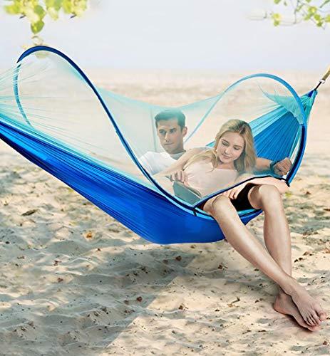 Simple & double Camping hamac avec moustiquaire/bug net, hamac arbre bretelles & mousquet | Assemblage facile | Hamac portable en nylon parachute pour camping, Backpacking, survie, voyage & plus