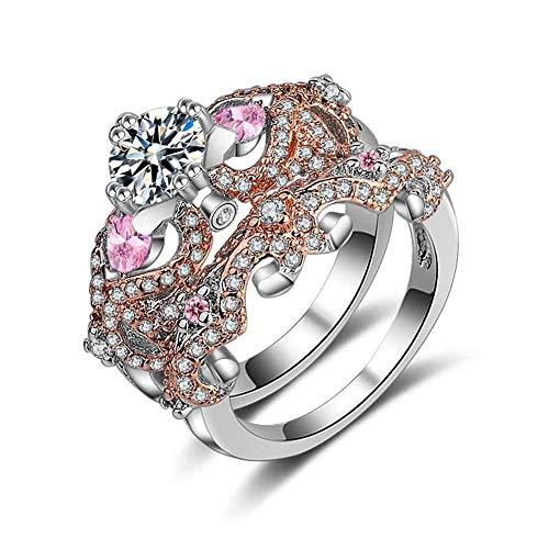 Yazilind Weißes Gold überzogener Zirkonia Diamantbesetzte Herz Ringe Set für Sie und Ihn Trauringe Set für Frauen Mädchen 18.8 (Weiß Ihn Und Für Ring-sets Gold Sie)