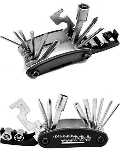 Outdoor Saxx® - 15-in-1 Fahrrad Multi-Tool, Schrauben-Dreher Kreuz Schlitz, Schrauben-Schlüssel, Nuss, Imbus, 6-Kant, zusammen-klappbar Edelstahl
