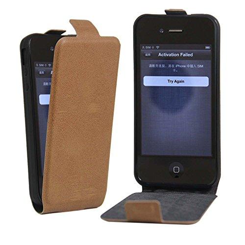 Owbb® PU Ledertasche oberen und unteren offenen im Bookstyle für iphone 4S Smartphone Case Cover Wallet Standfunktion mit Kartenfächer Bargeld Aussparrung-Pink Braun