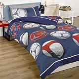 Juego de cama doble con diseño de fútbol, color azul