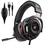 EKSA Gaming Headset PS4/XBox One, Virtual 7.1 & 3,5mm Surround Sound 2 in1 Kabelgebundenes Over-Ear...