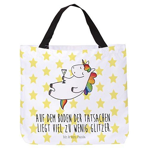 Mr. & Mrs. Panda Tragetasche, Strandtasche, Shopper Einhorn Cocktail mit Spruch - Farbe Weiß