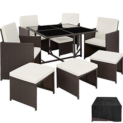 TecTake Poly Rattan Sitzgruppe Cube | Schutzhülle & Edelstahlschrauben | 4 Stühle 1 Tisch 4 Hocker - diverse Farben (Antik | Nr. 402827) Cube Tisch Und Stuhl Im Set