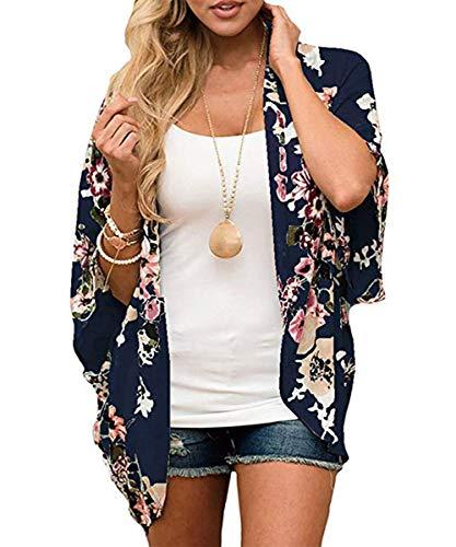 Durio Kimono Damen Strand Cardigan Kurz Bluse Sommer Cover up Boho Kimono Leicht mit Blumen Marineblau L