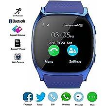 Reloj Inteligente Bluetooth, DXABLE SmartWatch Soporte SIM / TF Reloj de Pulsera con Cámara Reproductor de música Facebook WhatsApp Sync SMS Smartwatch Soporte SIM TF tarjeta para para el iPhone 7 8 7 Plus 6 Samsung S8 y otros teléfonos inteligentes Android o iOS (Azul)