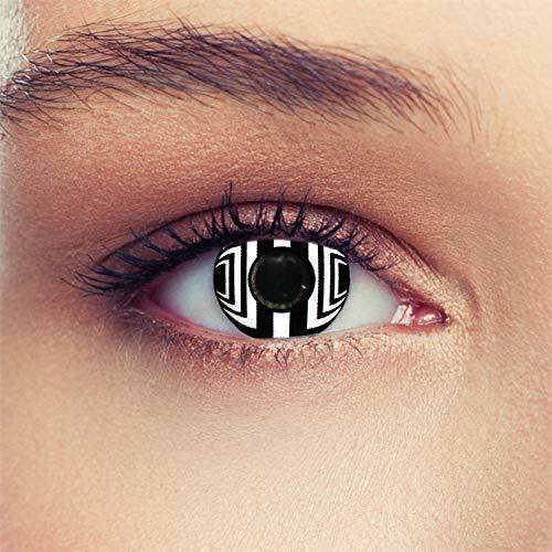 Schwarz weiße farbige Cyborg Kontaktlinsen für Halloween Farblinsen in schwarz weiß Model: Cyborg + gratis Kontaktlinsenbehälter (innerhalb ()