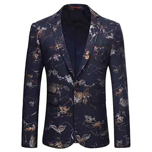 YOUTHUP Herren Elegant Abendjacke Sakkos Dinner Caots Blume Print Herrenanzug Business - Weiße Dinner-jacket Die Männer